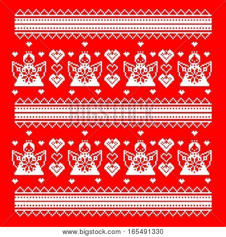 Slavic pattern ornament cross stitch. style Valentine s Day. Angels and hearts. vector illustration