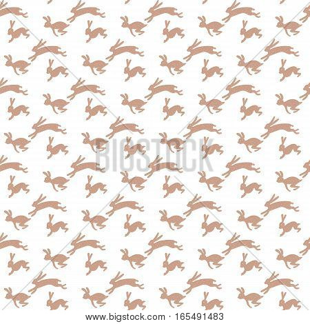 Gold rabbits running on a solid white background Hand drawn flat design seamless pattern