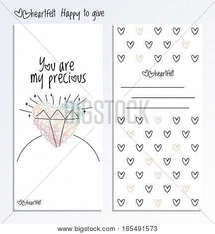 Valentines Day back and fron side card. Valentine Day vector two side greeting post card with hand drawn heart