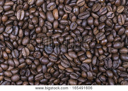 coffee beans background texture, close up view