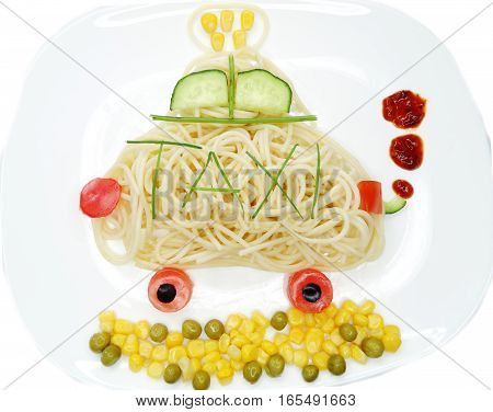 creative vegetable food meal with spaghetti car form