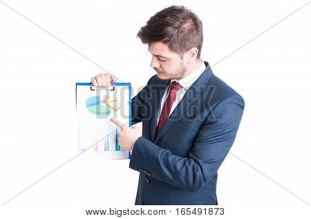 Business Man Or Marketing Manager Pointing Charts Clipboard