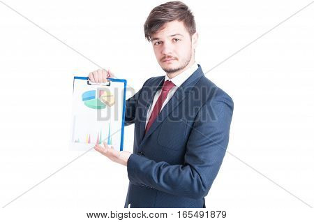 Business Man Or Marketing Manager Showing Charts Clipboard