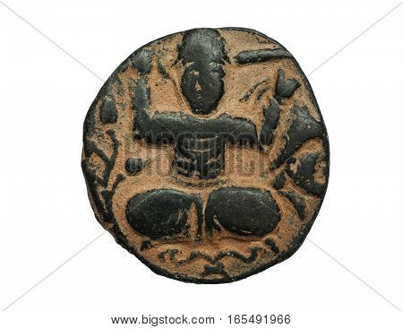 Ancient Bronze Coin With Image Of Person Seated In Lotus Position Isolated On White