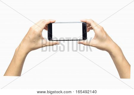 hand holding smartphone blank screen isolated. hand using smartphone on white. hand using smartphone isolated. hand using black color smartphone. woman hand using smartphone. hand holding smartphone.