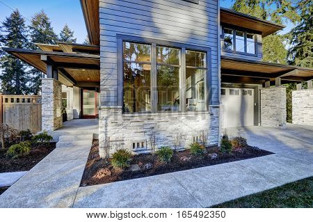 Entrance Of  Luxurious New Construction Home In Bellevue, Wa