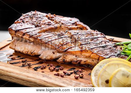 sea bass grilled grilled Fish Fillet with BBQ Vegetables