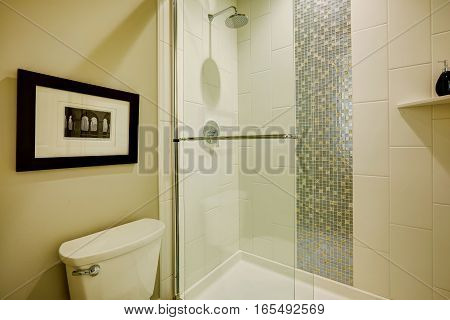 Glass Walk-in Shower In A Bathroom Of Brand-new Home