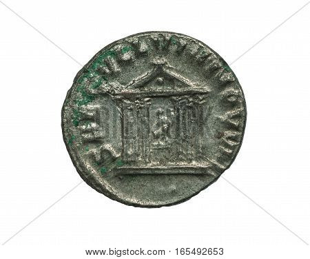 Ancient Silver Roman Coin With Image Of A Temple Isolated On White