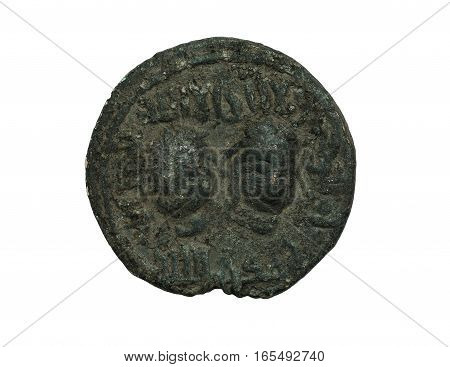 Ancient Islamic Bronze Coin With Two Faces On It Isolated On White