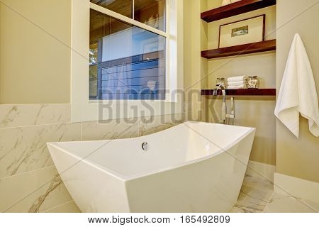Sophisticated Bathroom Nook With Freestanding Tub