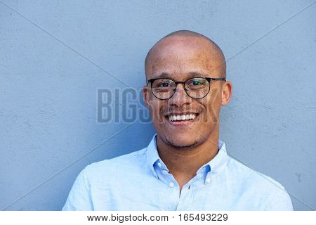 Close Up Smiling African American Businessman With Glasses