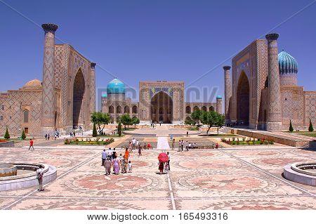 SAMARKAND, UZBEKISTAN - MAY 21, 2011: The Registan with beautiful architecture