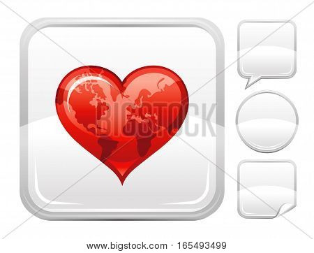 Happy Valentines day romance love heart. World map icon isolated on white background. Romantic dating vector illustration. Button icons set. Abstract template holiday design. Flat cute cartoon sign