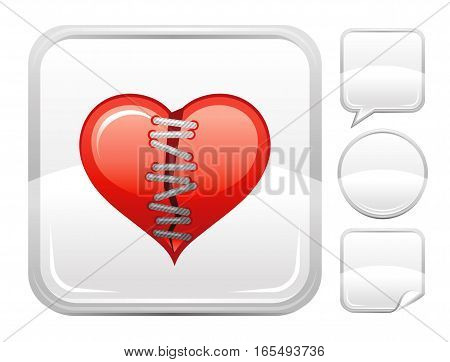 Happy Valentines day romance love heart. Patch lace icon isolated on white background. Romantic dating vector illustration. Button icons set. Abstract template holiday design. Flat cute cartoon sign