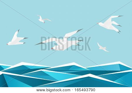 Paper sea with birds. Vector origami gulls above waves vector background. Origami seagull paper freedom illustration