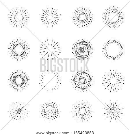 Simple vector retro fireworks or vintage shine radiant burst or light sunbeam set. Decoration sunbeam line style, radial ray illustration