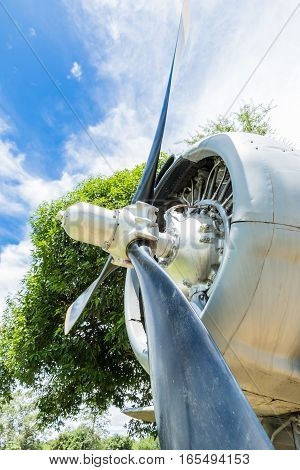 old aircraft round piston engine and propeller aircraft
