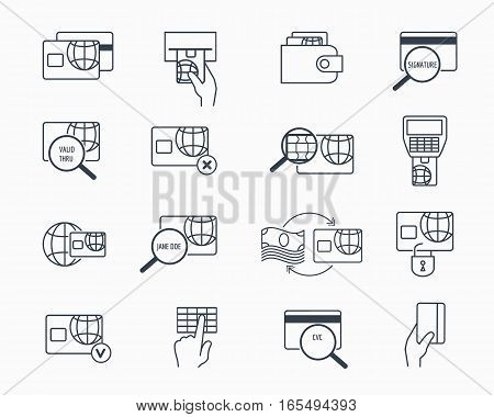 Debit and credit card payment icons. Safe electronic banking outline vector icon set. Electronic pay and money on credit card illustration