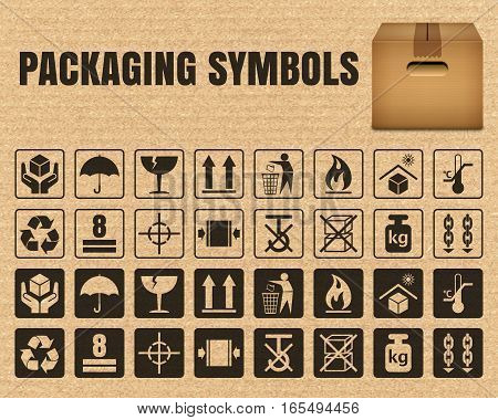 Packaging symbols on a cardboard background including Fragile Handle with care Keep dry This side up Flammable Recycled Package weight Do not litter Max stack Clamp and Sling here and others