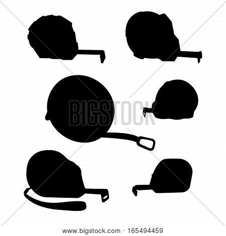 Measuring tape, a silhouette of different lengths and shapes on a white background. Building measuring tool. Home Repair and creativity. Stock vector set.