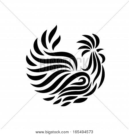 Fire Rooster, decorative symbol of chinese new year, vector illustration