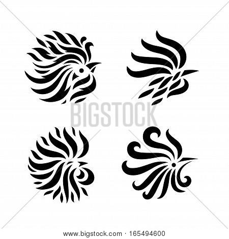 Fire Rooster, decorative symbol of chinese new year, vector illustration logos set