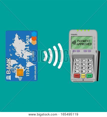 Pos terminal confirms the payment by bank card. nfc payments concept Vector illustration in flat design.