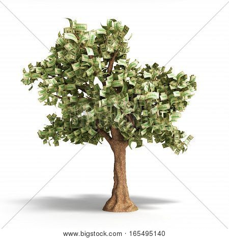 Dollar Tree With Hundred Dollar Bills On White 3D Illustration