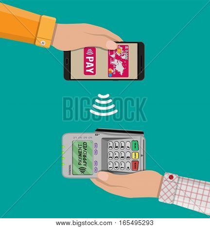 Pos terminal confirms the payment by smartphone. Vector illustration in flat design. nfc payments concept