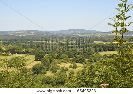 View from Duncton Down north with Seaford College playing fields. Near Chichester West Sussex England