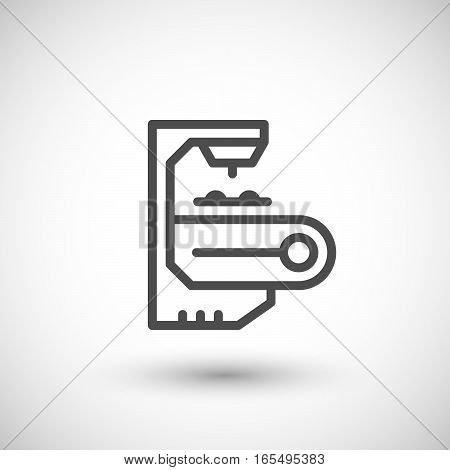 Robotic conveyor line icon isolated on grey. Vector illustration