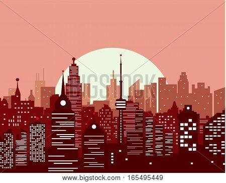 City skyline silhouette at sunset. skyscappers, towers, office and residental buildings. vector illustration