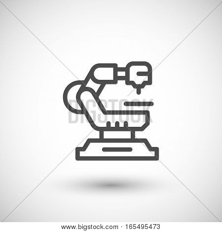 Robotic machine line icon isolated on grey. Vector illustration
