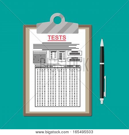 Clipboard with exam test answer sheet with pen. Flat style vector illustration