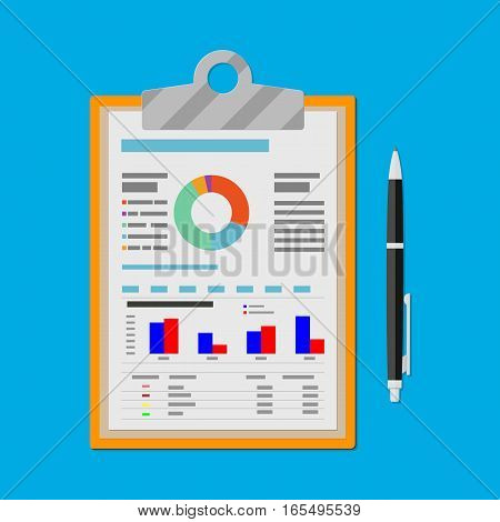 Spreadsheet concept. clipboard with financial reports and pen. vector illustration in flat design