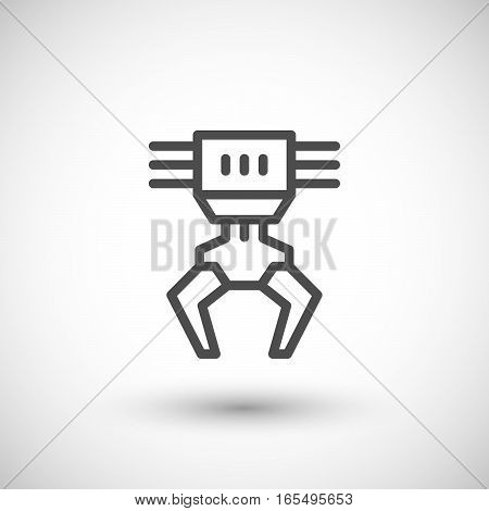 Robotic claw line icon isolated on grey. Vector illustration