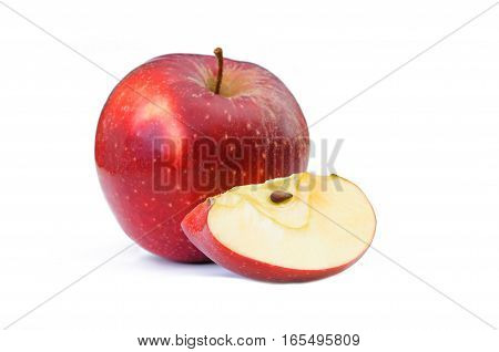 red apple and slice isolated on white background