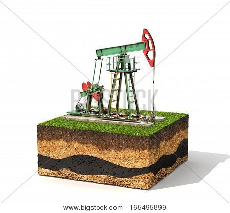 Concept of resources. Cross section of ground with pump jack isolated on white background 3d illustration