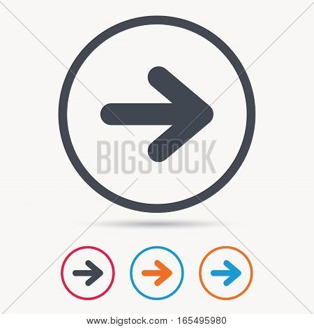 Arrow icon. Next navigation symbol. Colored circle buttons with flat web icon. Vector
