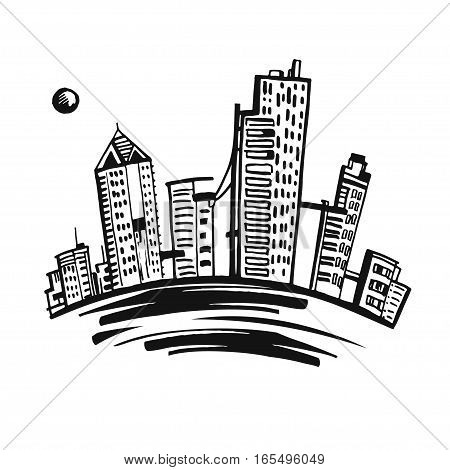 Set of business buildings. Skyscrapers vector town sketch style