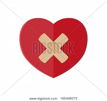 Medical plaster on red heart. Vector illustration in flat style