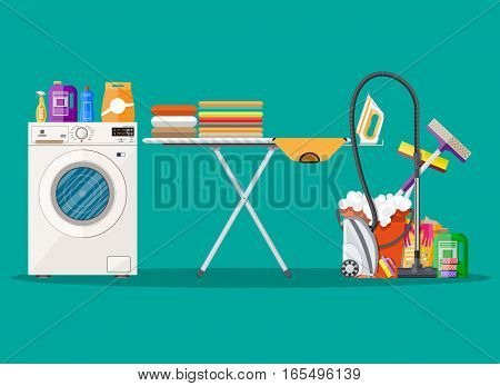 Cleaning and laundry set. mop, sponge, bucket, cleaning products in bottle for floor and glass, rubber gloves, vacuum cleaner, washing machine, iron, ironing board. vector illustration in flat design