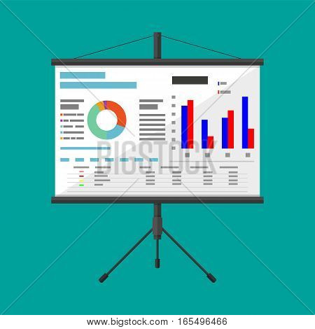 Projector screen with business presentation. chart pie, financial report. vector illustration in flat style