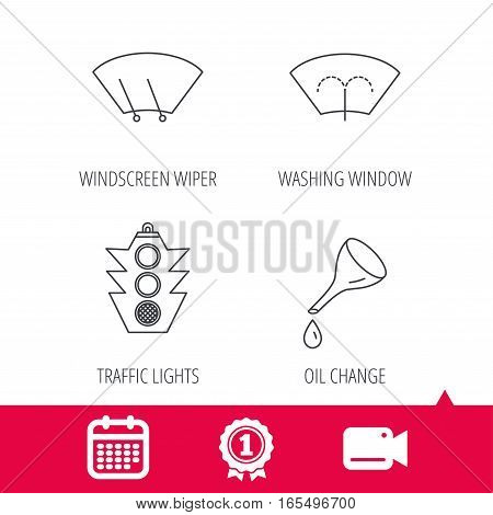 Achievement and video cam signs. Motor oil change, traffic lights and wiper icons. Washing window, windscreen wiper linear signs. Calendar icon. Vector