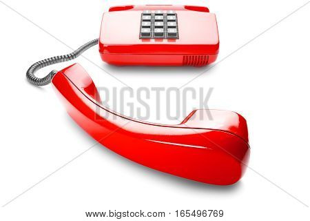 landline phone in red on isolated white background