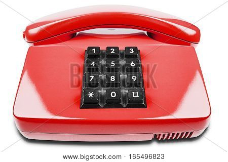 red phone with shadow on a isolated white background