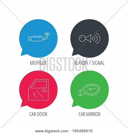Colored speech bubbles. Car door, muffler and klaxon signal icons. Car mirror linear sign. Flat web buttons with linear icons. Vector