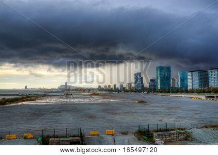 Storm pass rapidly in barcelona City, Ctalunya
