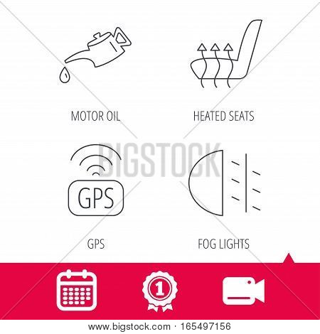 Achievement and video cam signs. Motor oil, passing fog lights and gps icons. Heated seats linear sign. Calendar icon. Vector